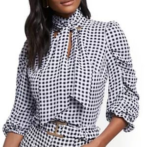 NY&Co Gingham Tie-Front Blouse - 7th Avenue